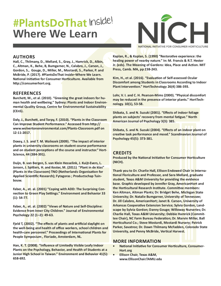 NICH Releases PlantsDoThat Inside Infographic #2: Where We Learn 3